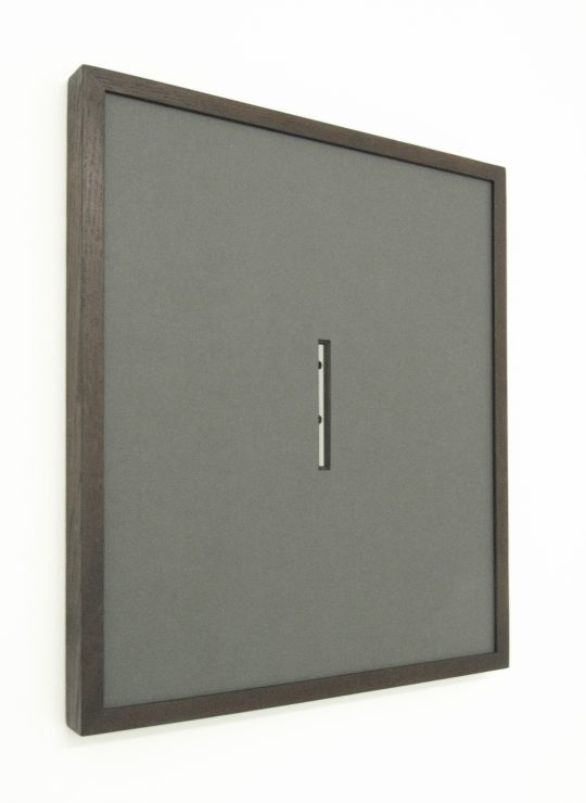 Dark grey mat, mirror and dark wooden frame \r<br>58 x 50 x 4 cm \r\nEdition 2/5 \r\n\r\nPhoto: John Cornu
