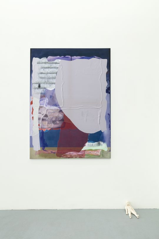 Pastel, oil pastel on sublimation print on fabric\r<br>150 x 120 cm \r\n\r\nPhoto: Cordia Schlegelmilch, courtesy Galerie Gilla Loercher