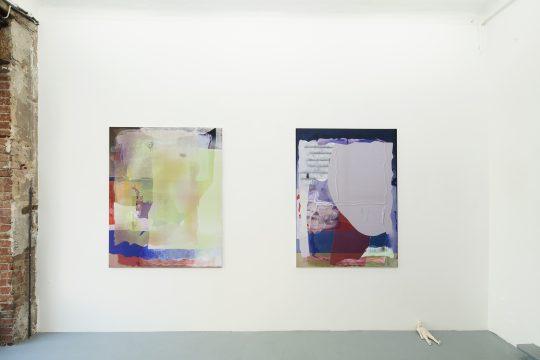 Pastel, oil pastel on sublimation print on fabric\r<br>120 x 110 cm / 150 x 110 cm (left)\r\n\r\nPhoto: Cordia Schlegelmilch, courtesy Galerie Gilla Loercher