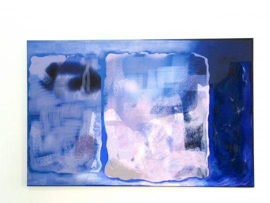 Pastel, oil pastel on sublimation print on fabric\r<br>200 x 130 cm \r\n\r\nPhoto: Gilla Loercher, courtesy Galerie Gilla Loercher