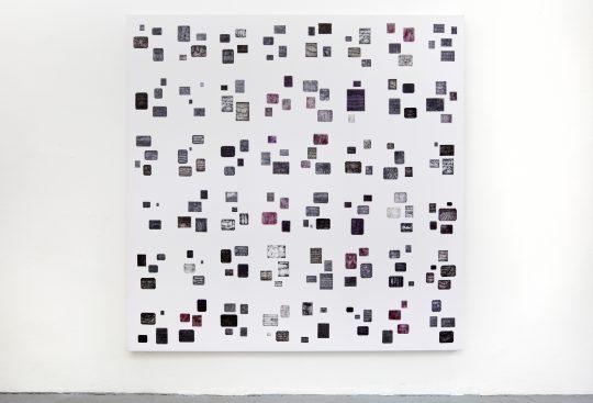 Ink, Marker on fabric /Sublimationsdruck\r<br>210 x 210 cm \r\n\r\nPhoto: Cordia Schlegelmilch, courtesy Galerie Gilla Loercher