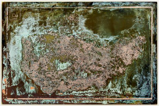 Printed circuit board: copper-clad epoxy <br>20 x 30 cm \nPhoto: Cordia Schlegelmilch