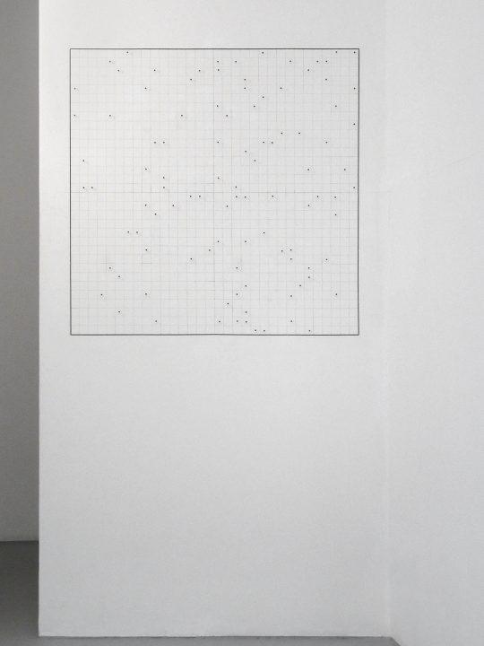 Pencil, needles. Dimensions variable<br>\nPhoto: Gilla Loercher, courtesy the artist