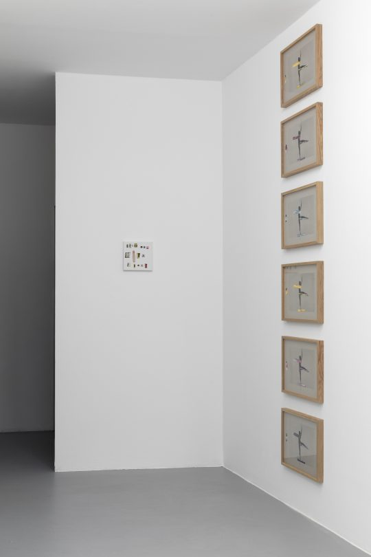 Silkscreen on cardboard with gouache highlights (Bleu / Red / Yellow) \r<br>32 x 42 cm each \r\n\r\nPhoto: CHROMA, courtesy Galerie Gilla Loercher