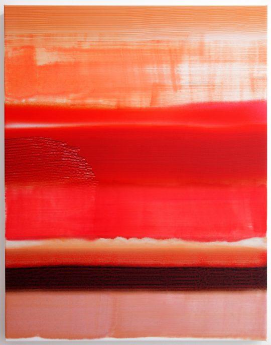 Oil on sublimation print \r<br>90 x 70 cm \r\n\r\nPhoto: Cordia Schlegelmilch, courtesy Galerie Gilla Loercher