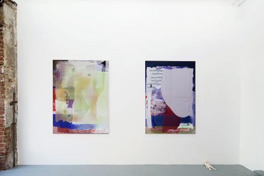 Pastel, oil pastel on sublimation print on fabric<br>120 x 110 cm / 150 x 110 cm (left)\n\n\nPhoto: Cordia Schlegelmilch, courtesy Galerie Gilla Loercher