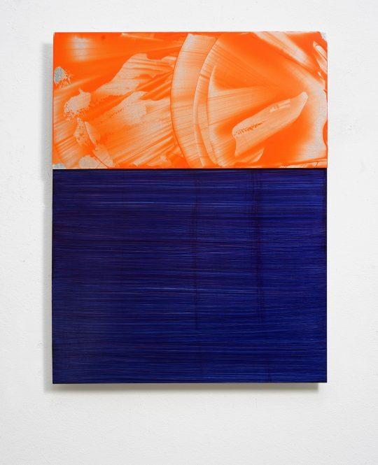 zweiteilig, 65 x 50 cm,\r<br>Acryl/ Pigmente auf Aluminium, 2018