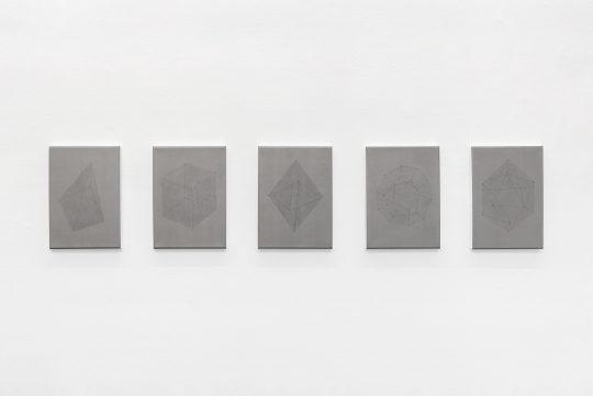 Acrylic and acrylic firnis on canvas <br>5 parts, each 35 × 27 cm\n