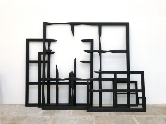 Macula, 2008-2021<br>Wood, paint and wax - 9 elements\n\nPhoto: John Cornu\nDimensions variable\n