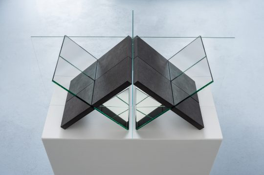 MDF, mirror glass and glass <br>L 60 x B 30 x H 30 cm \nEdition 1/1 + 1 AE\n\nPhoto: Dieter Düvelmeyer, courtesy Galerie Gilla Loercher and the artist\n