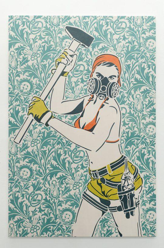 Stencil printing, acrylic on cotton nettle, \r<br>stretcher frame 100 x 150 cm \r\nBackground: Revision of a design by William Morris - Thistle 19th century \r\nUnique edition 1/3 \r\n\r\nPhoto: Dieter Düvelmeyer, courtesy Galerie Gilla Loercher