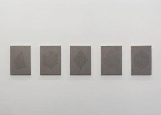 Acryl and Acrylfirnis on canvas \r<br>5 parts, each 35 x 27 cm\r\n\r\nPhoto: Dieter Düvelmeyer, courtesy Galerie Gilla Loercher