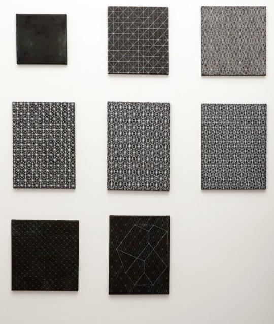 Ohne Titel, 2015 (upper row, left)\r<br>Oil and acrylic on canvas\r\n26,5 x 26, 5 cm\t\t\t\t\t\t\r\n\r\nBasic Grid, 2013 (upper row, middle)\r\nOil and acrylic on canvas\r\n32 x 35 cm\t\t\t\t\t\t\t\r\n\r\nSome good organized Stars, 2014 (upper row, right)\r\nOil and acrylic on canvas\r\n36 x 35 cm\t\t\t\t\t\t\t\t\r\n\r\nSome good organized Stars, 2013 (middle row, left)\r\nOil and acrylic on canvas\r\n45 x 32 cm\t\t\t\t\t\t\t\t\r\n\r\nSome good organized Stars, 2013 (middle row, in the middle)\r\nOil and acrylic on canvas\r\n46 x 33 cm\t\t\t\t\t\t\t\t\r\n\r\nSome good organized Stars, 2013 (middle row, reight)\r\nOil and acrylic on canvas\r\n45 x 35 cm\t\t\t\t\t\t\t\t\r\n\r\nSome good organized Stars, 2013 (lower row, left)\r\nOil and acrylic on canvas\r\n37 x 35 cm\t\t\t\t\t\t\t\t\r\n\r\nSome good organized Stars, 2013 (lower row, 2nd from left) \r\nOil and acrylic on canvas\r\n42 x 32 cm\r\n\r\nPhoto: Cordia Schlegelmilch, courtesy Galerie Gilla Loercher
