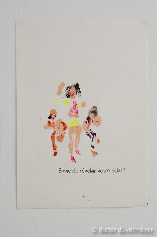 Make-up, nail polish, mascara, lipstick on paper\r<br>29,5 x 42 cm\r\n\r\nPhoto: Dieter Düvelmeyer, courtesy Galerie Gilla Loercher and the artist