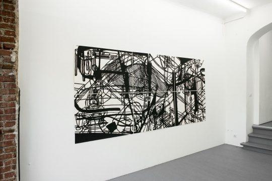 Zeichnung, 6-teilig <br>Acrylic on paper \n150 x 315 cm \nPhoto: Ute Schendel, courtesy Galerie Gilla Loercher and the artist