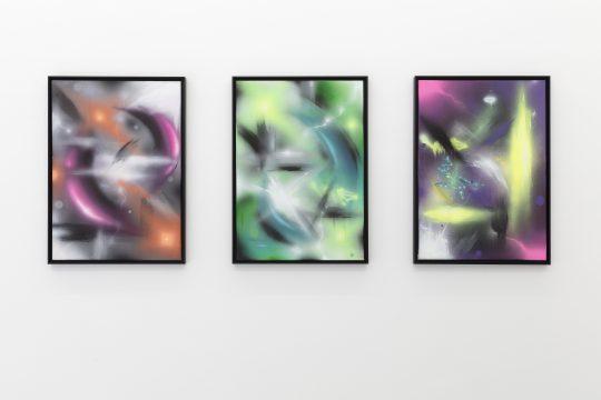 Views, Untitled 2021\r<br>3 x Acrylic on canvas, gerahmt\r\n70 x 50 cm each. \r\n\r\nPhoto: CHROMA, courtesy Galerie Gilla Loercher and the artist\r\n