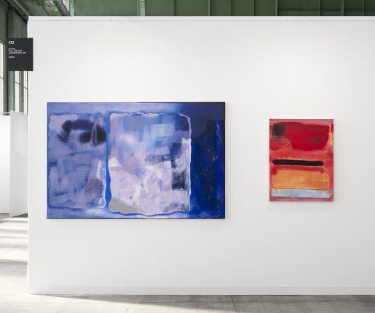 Paintings by Claudia Zweifel, booth Galerie Gilla Loercher at POSOTIONS Berlin Art Fair 2020.<br>Photo: CHROMA, courtesy Galerie Gilla Loercher and the artist