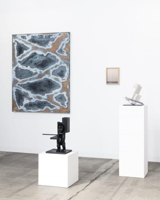 Installation view John Cornu, paintings, sculptures. Booth Galerie Gilla Loercher. Positions Berlin Art Fair 2021