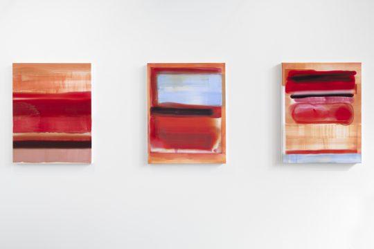 Claudia Zweifel<br>Bitmap paintings, 2013\nOil on sublimation print\n90 x 70 cm\nat Positions Berlin Art Fair 2021, booth Galerie Gilla Loercher